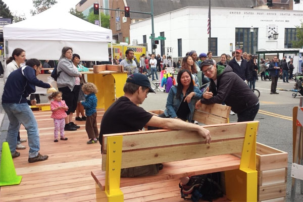 Parklet During Construction at Street Fair - Photo by Jordan Lewis