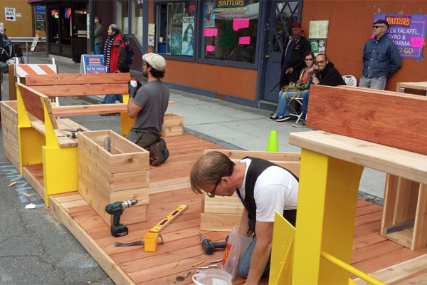 Parklet Under Construction - Photo by Stella Chen